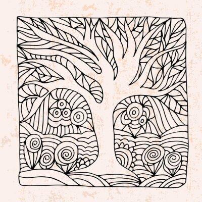 Vinilo Zentangle con el árbol y las flores