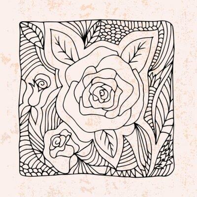 Vinilo Zentangle con rosas y hojas