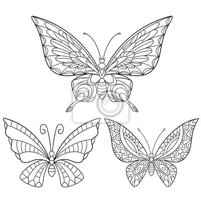 Zentangle estilizada colección de dibujos animados de mariposas ...