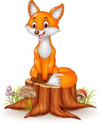 Vinilo Zorro feliz de la historieta que se sienta en tocón de árbol